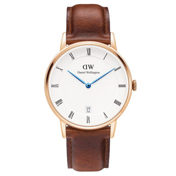 DW Daniel Wellington Dapper時尚棕色皮革腕錶-金框/34mm(1130DW)
