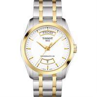 TISSOT 天梭 建構師 Powermatic 80 機械腕錶~白x雙色 39mm T0