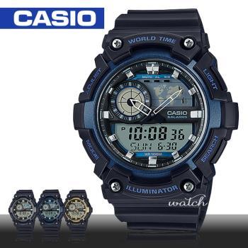 【CASIO 卡西歐】世界時間_防水_LED燈_整點報時_男錶(AEQ-200W)