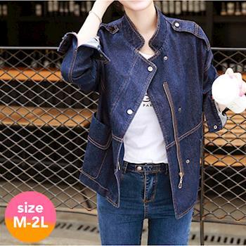 【SCL南加州丹寧時尚】T1658 深藍質感落肩短夾克擋風牛仔外套