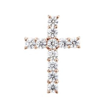 Dolly 閃耀十字架美鑽墜 -優雅玫瑰金
