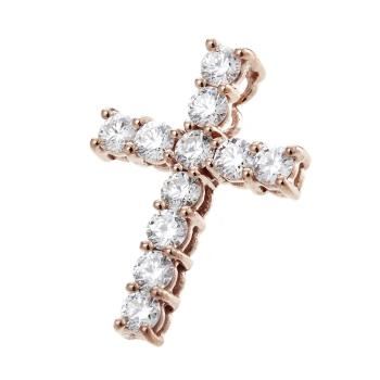 Dolly 耀眼十字架美鑽墜 -優雅玫瑰金