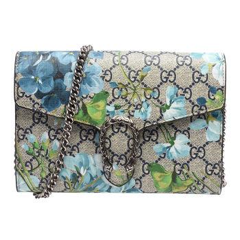 GUCCI Blooms系列花卉雙G圖紋PVC牛皮虎頭馬刺釦銀鍊手拿/斜背包(藍)