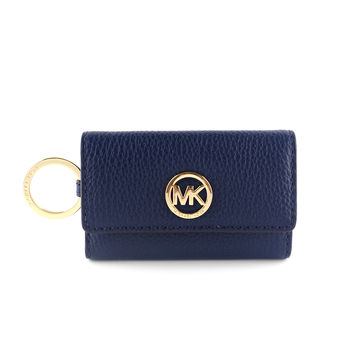 MICHAEL KORS 荔枝紋六孔鑰匙包-藍色