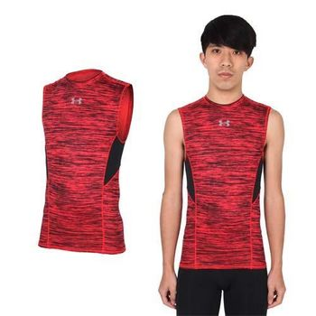 【UNDER ARMOUR】UA COM HG COOLSWITCH男無袖緊身衣-背心 條紋紅黑