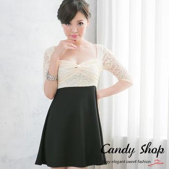 Candy小舖   低胸蕾絲扭結七分袖撞色短洋裝-(象牙色)0094326