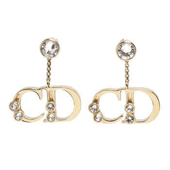Christian Dior YOUR DIOR系列CD造型吊飾水鑽鑲嵌穿式耳環(金)