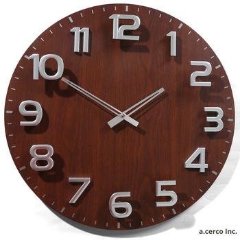 【a.cerco】胡桃木紋數字設計鐘