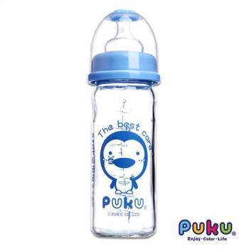 PUKU藍色企鵝 - 寬口玻璃奶瓶230cc(水色)