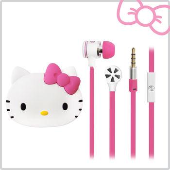 Hello Kitty經典耳道式線控耳機 附造型收納盒-夢幻桃