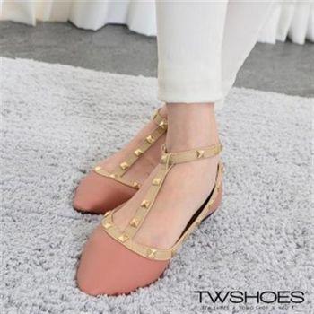 【TOMO】《韓國直送》尖頭金屬鉚釘T字繞踝平底包鞋(K120A2359)