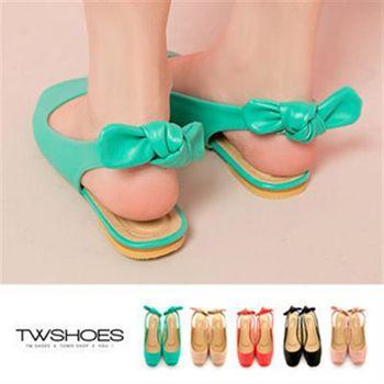 【TOMO】《韓國直送》糖果色後蝶結鏤空設計方頭包鞋(K132A2003)