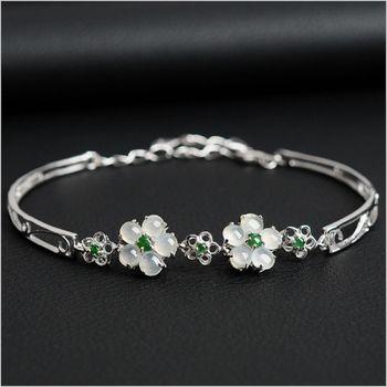 【品澐珠寶】現貨+預購  925銀鍍白金梅花鑲嵌翡翠手鍊