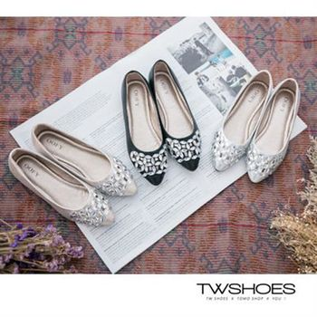 【TOMO】水鑽摟空平底鞋【K160A2592】