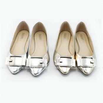【TOMO】平底鞋‧金屬釦飾尖頭包鞋(K120B2746)