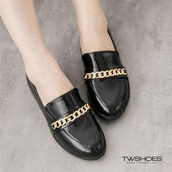 【TOMO】英倫風漆皮飾金鍊低跟樂福鞋【K160B2850】