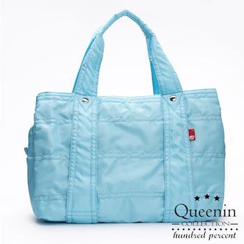 DF Queenin日韓 - 日本熱銷款百搭光感尼龍大空間手提肩背旅行包-共8色