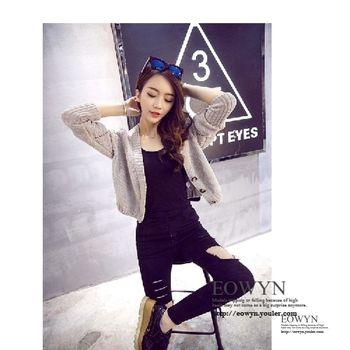實拍時尚毛衣女寬松開衫長袖小外套短款上衣灰色/均碼