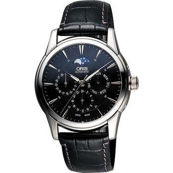 ORIS Artelier藝術家月相盈虧機械腕錶-黑/40.5mm 0158276894054-0752171FC