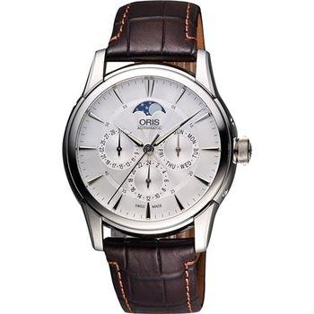 ORIS Artelier藝術家月相盈虧機械腕錶-銀/40.5mm 0178177034051-0752170FC