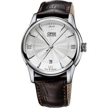 ORIS Artelier Date 藝術家機械腕錶-銀x咖啡/40.5mm 0173376704071-0752170FC