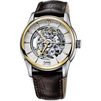 ORIS Artelier Skeleton 藝術家鏤空機械腕錶-銀x金框/40mm 0173476704351-0752170FC