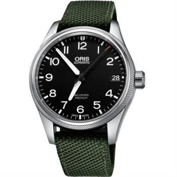 Oris Big Crown ProPilot 日期機械腕錶-黑x軍綠/41mm 0175176974164-0752014FC