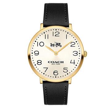 COACH 經典時尚 薄型大三針數字皮帶腕錶(14502683)-淡金/35mm