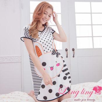 lingling日系 全尺碼-小兔條紋圓點短袖連身裙睡衣(經典白)A2965-01