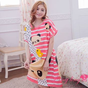 lingling日系 大尺碼-熊貓橫條紋點點短袖連身裙睡衣(珊瑚紅)A2957-01
