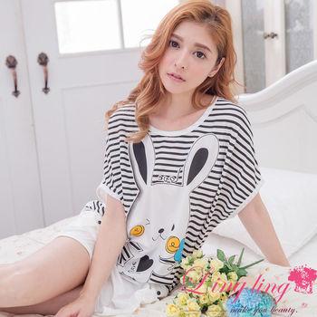 lingling日系 全尺碼-俏皮兔橫條紋短袖連身裙睡衣(經典白)A3017-01