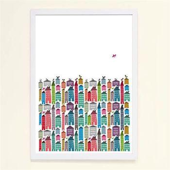 【摩達客】西班牙知名插畫家Judy Kaufmann藝術創作海報掛畫裝飾畫-房屋與鳥 (附Judy本人簽名)(含木框)