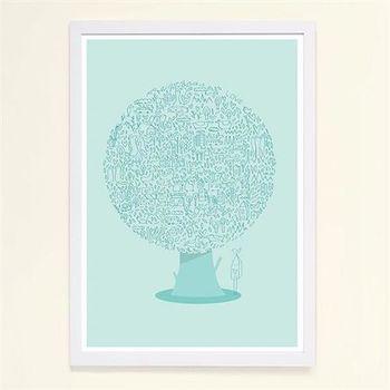 【摩達客】西班牙知名插畫家Judy Kaufmann藝術創作海報掛畫裝飾畫-動物樹 (附Judy本人簽名)(含木框)