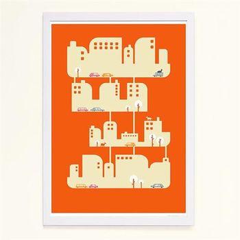 【摩達客】西班牙知名插畫家Judy Kaufmann藝術創作海報掛畫裝飾畫-家屋 (附Judy本人簽名)(含木框)