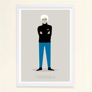 【摩達客】西班牙知名插畫家Judy Kaufmann藝術創作海報掛畫裝飾畫-安迪沃荷 (附Judy本人簽名)(含木框)