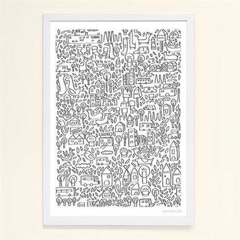 【摩達客】西班牙知名插畫家Judy Kaufmann藝術創作海報掛畫裝飾畫-近鄰 (附Judy本人簽名)(含木框)