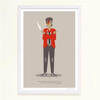 【摩達客】西班牙知名插畫家Judy Kaufmann藝術創作海報掛畫裝飾畫-大衛鮑伊 (附Judy本人簽名)(含木框)