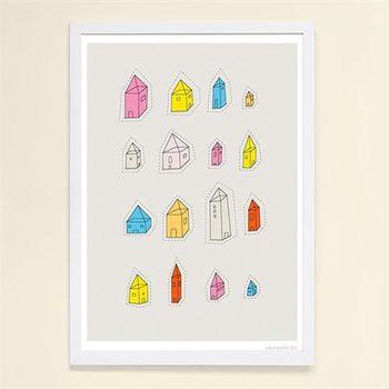 【摩達客】西班牙知名插畫家Judy Kaufmann藝術創作海報掛畫裝飾畫-透明屋 (附Judy本人簽名)(含木框)
