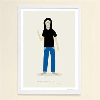 【摩達客】西班牙知名插畫家Judy Kaufmann藝術創作海報掛畫裝飾畫-約翰藍儂 (附Judy本人簽名)(含木框)