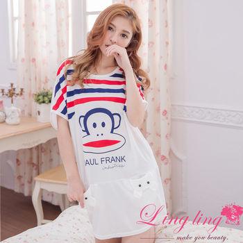 lingling日系 全尺碼-可愛猴橫條紋短袖連身裙睡衣(紅條紋)A3018-02