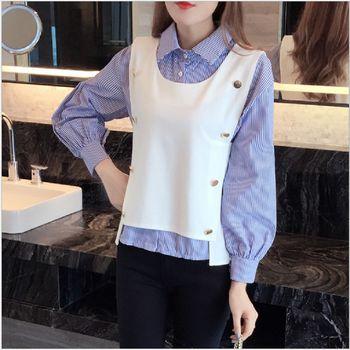 (現貨+預購 RN-girls)-韓國秋裝新款條紋泡泡袖襯衫+無袖背心兩件式上衣