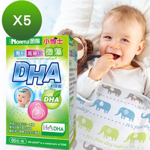 【諾得】小博士專利高單位微藻DHA軟膠囊(60粒x5瓶)贈六層紗布被x1件