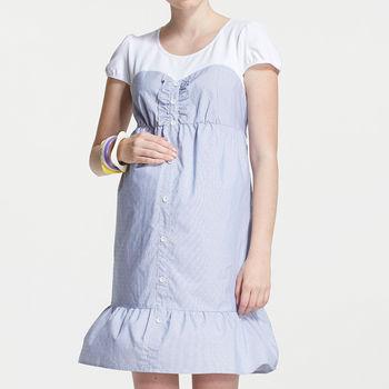 【ohoh-mini孕婦裝】拼接假兩件荷葉邊孕婦洋裝