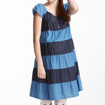 【ohoh-mini】俏麗牛仔棉布拼接孕婦洋裝