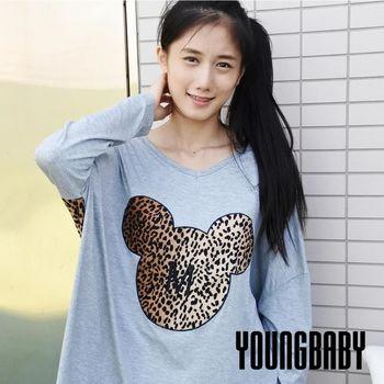 【YOUNGBABY中大碼】大M豹紋熊頭V領背接豹紋莫代爾T.共3色