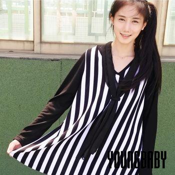 【YOUNGBABY中大碼】V領長直紋黑色袖羊毛絨A字上衣*附圍巾