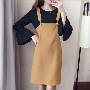 (現貨+預購 RN-girls)-韓國秋季新款時尚休閒喇叭袖上衣+吊帶裙套裝