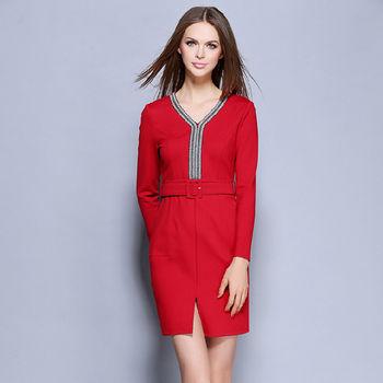 【M2M】Y字領口腰帶裙開衩長袖連衣裙