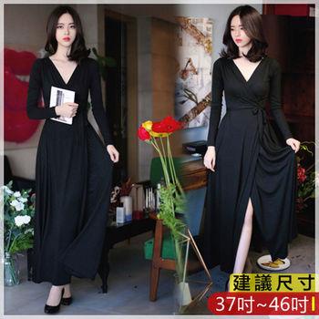 WOMA-W4549簡約V領長版顯瘦開叉修身洋裝(黑)WOMA中大尺碼洋裝W4549