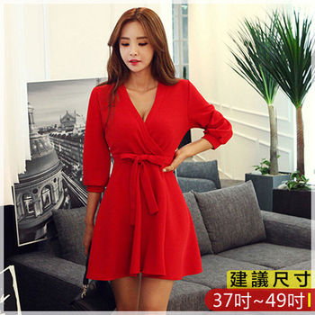 WOMA中大尺碼韓版性感V領純色修身繫帶傘擺洋裝(黑)W4206